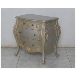 FRENCH-ROSE-3-ERAWER-BEDSIDE,-SILVER-GOLD